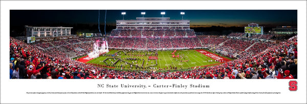 "NC State Wolfpack Football ""Enter the Arena"" Carter-Finley Game Night Panoramic Poster - Blakeway"