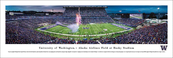 Washington Huskies Football Husky Stadium Game Night Panoramic Poster Print - Blakeway Worldwide