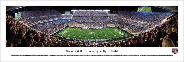 Texas A&M Football Kyle Field Game Night Panoramic Poster Print - Blakeway 2016