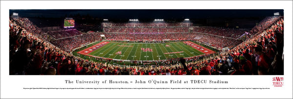 University of Houston Cougars Football TDECU Stadium Game Night Panoramic Poster Print