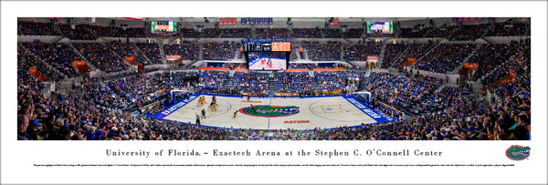Florida Gators Basketball Exactech Arena Game Night Panoramic Poster Print (2017) - Blakeway