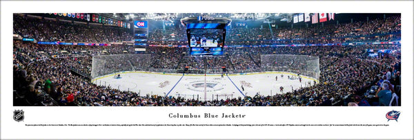 Columbus Blue Jackets Nationwide Arena Playoff Game Night Panoramic Poster Print - Blakeway