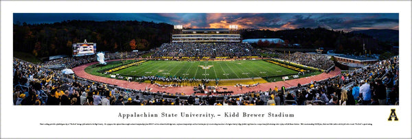 Appalachian State Football Kidd-Brewer Stadium Game Night Panoramic Poster - Blakeway Worldwide