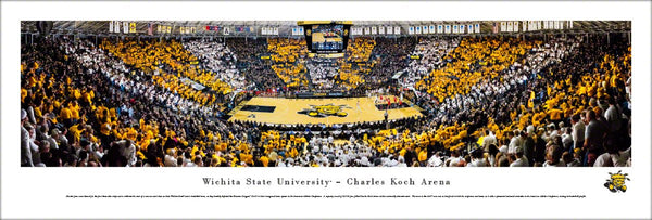 Wichita State Shockers Basketball Koch Arena Game Night Panoramic Poster Print - Blakeway Worldwide