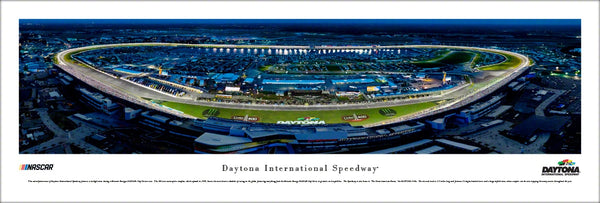 Daytona International Speedway Night Race Panoramic Poster Print - Blakeway Worldwide