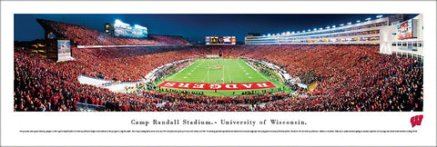 Wisconsin Badgers Football Camp Randall Game Night Panoramic Poster - Blakeway Worldwide
