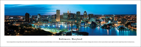 Baltimore, Maryland Inner Harbour Skyline Panoramic Poster Print - Blakeway Worldwide