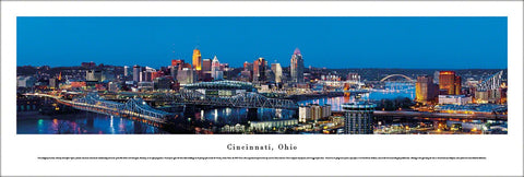 Cincinnati, Ohio Downtown Skyline at Dusk Panoramic Poster Print - Blakeway Worldwide