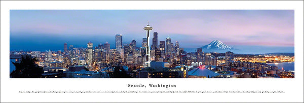 Seattle, Washington Skyline at Dusk Panoramic Poster - Blakeway Worldwide