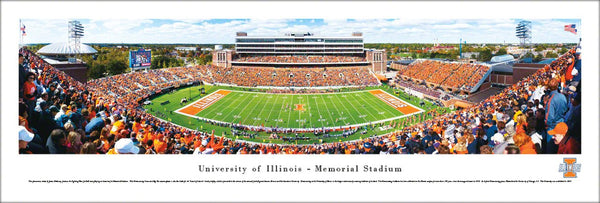 Illinois Fighting Illini Football Memorial Stadium Gameday Panoramic Poster Print - Blakeway 2011
