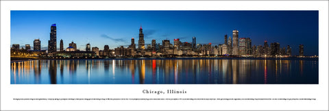 "Chicago, Illinois ""Dusk Skyline Reflections"" Panoramic Poster Print - Blakeway Worldwide"
