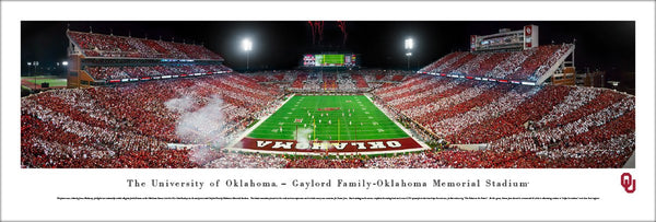 Oklahoma Sooners Football Game Night at Memorial Stadium Panoramic Poster Print - Blakeway