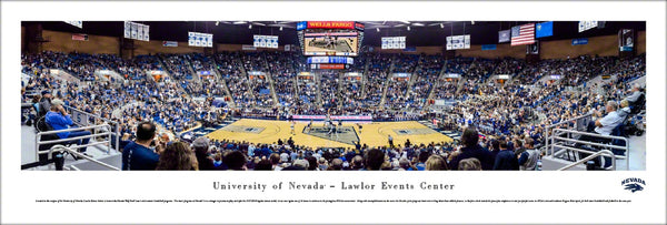 Nevada Wolfpack Basketball Lawlor Events Center Game Night Panoramic Poster Print - Blakeway Worldwide