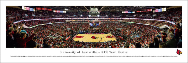 Louisville Cardinals KFC Yum Center Basketball Game Night Panoramic Poster - Blakeway