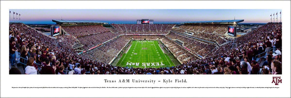Texas A&M Aggies Football Kyle Field Game Night Panoramic Poster Print - Blakeway Worldwide
