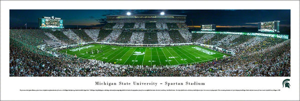 "Michigan State Spartans Football ""Stripe Night"" Panoramic Poster Print - Blakeway 2015"