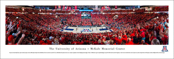 Arizona Wildcats Basketball McKale Center Game Night Panoramic Poster - Blakeway Worldwide