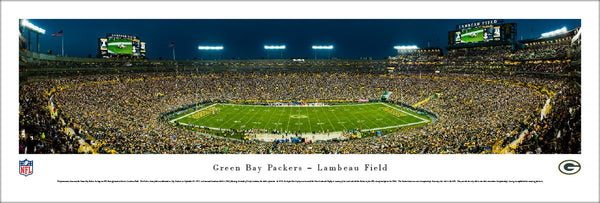 Green Bay Packers Sunday Night Football at Lambeau Field Panoramic Poster - Blakeway