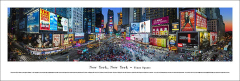 "New York Times Square ""Bright Lights of Broadway"" Panoramic Poster Print - Blakeway"