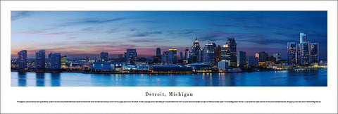 Detroit, Michigan Riverfront Skyline at Dusk Panoramic Poster Print - Blakeway