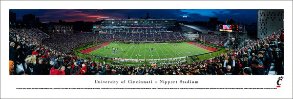Cincinnati Bearcats Nippert Stadium Game Night Panoramic Poster Print - Blakeway 2015