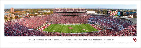 Oklahoma Sooners Football Gameday at Memorial Stadium Panoramic Poster Print - Blakeway