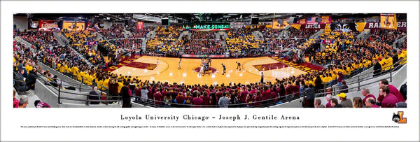 Loyola Ramblers Basketball Gentile Arena Game Night Panoramic Poster Print - Blakeway Worldwide