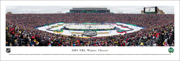 NHL Winter Classic 2019 (Bruins vs Blackhawks at Notre Dame Stadium) Panoramic Poster Print - Blakeway Worldwide