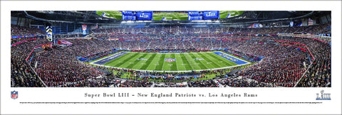 Super Bowl LIII (2019) New England Patriots vs. Los Angeles Rams Panoramic Poster Print - Blakeway Worldwide