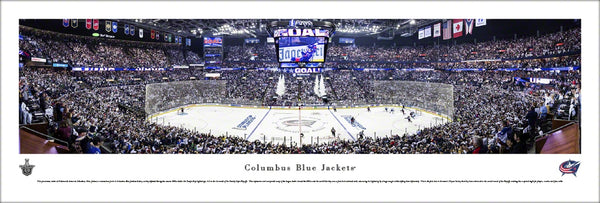 Columbus Blue Jackets Nationwide Arena 2019 Playoff Game Night Panoramic Poster Print - Blakeway Worldwide