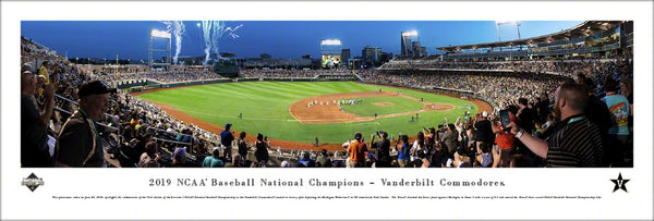 "Vanderbilt Commodores Baseball ""Celebration Omaha"" 2019 College World Series Panoramic Poster Print - Blakeway Worldwide"