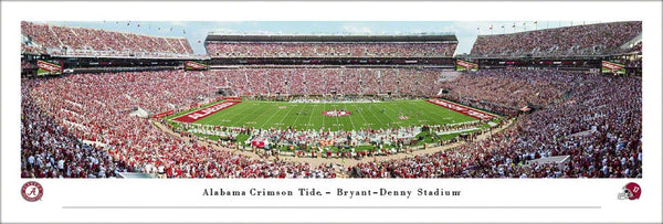 Alabama Crimson Tide Football Bryant-Denny Stadium Gameday Panoramic Poster Print - Blakeway Worldwide