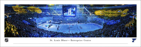 St. Louis Blues Stanley Cup Banner Night 2019 Enterprise Center Panoramic Poster Print - Blakeway