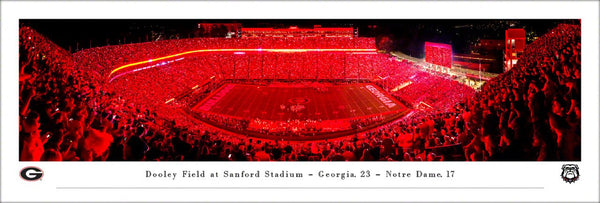 "Georgia Bulldogs Football ""Red Lights at Sanford Stadium"" Game Night Panoramic Poster Print - Blakeway Worldwide"
