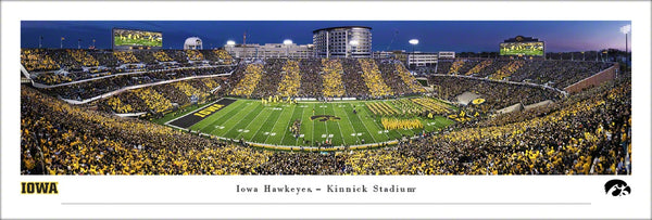 "Iowa Hawkeyes Football ""Stripes Night"" Kinnick Stadium Panoramic Poster Print - Blakeway Worldwide"