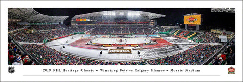 Winnipeg Jets vs. Calgary Flames at Mosaic Stadium 2019 Heritage Classic Panoramic Poster Print - Blakeway