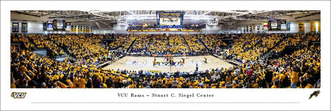 Virginia Commonwealth VCU Rams Basketball Game Night Panoramic Poster Print - Blakeway Worldwide