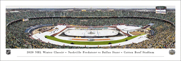 Dallas Stars vs Nashville Predators NHL Winter Classic 2020 at the Cotton Bowl Panoramic Poster Print - Blakeway