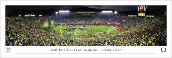 Oregon Ducks Football 2020 Rose Bowl Champions Panoramic Poster Print - Blakeway Worldwide