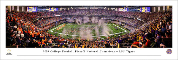 *SHIPS 1/22* LSU Tigers Football 2019 NCAA Football National Champions Panoramic Poster Print - Blakeway Worldwide