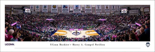 UConn Huskies Women's Basketball Game Night Gampel Pavilion Panoramic Poster Print - Blakeway Worldwide