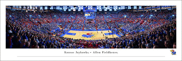 Kansas Jayhawks Basketball Allen Fieldhouse Game Night Panoramic Poster Print - Blakeway 2019