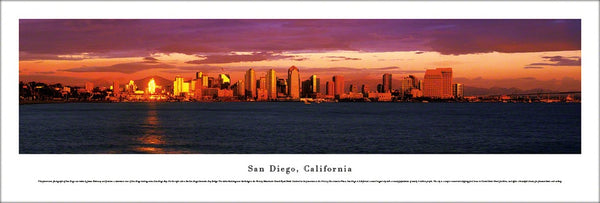 San Diego, California Skyline at Dusk Panoramic Poster Print - Blakeway Worldwide