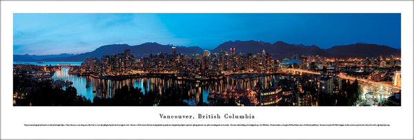 Vancouver, British Columbia Skyline at Dusk Panoramic Poster - Blakeway Worldwide