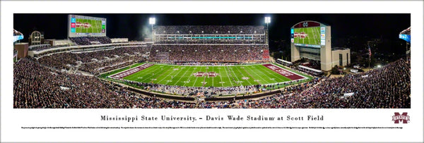 Mississippi State Bulldogs Davis Wade Stadium Game Night Panoramic Poster Print - Blakeway
