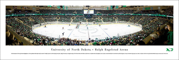 North Dakota Hockey Ralph Engelstad Arena Game Night Panoramic Poster Print - Blakeway