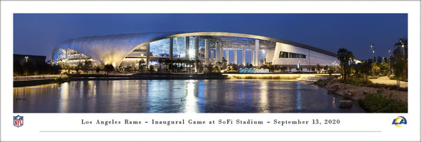 Los Angeles Rams SoFi Stadium Game Night Exterior Panoramic Poster - Blakeway Worldwide 2020
