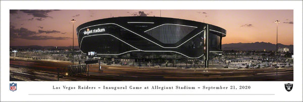 Las Vegas Raiders Inaugural Game Night at Allegiant Stadium Exterior Panoramic Poster - Blakeway Worldwide 2020