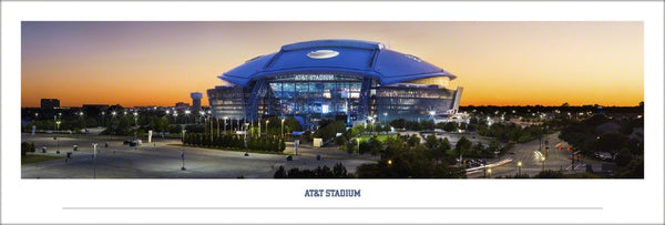 AT&T Stadium Exterior at Dusk Panoramic Poster (Dallas Cowboys Game Night) - Blakeway Worldwide