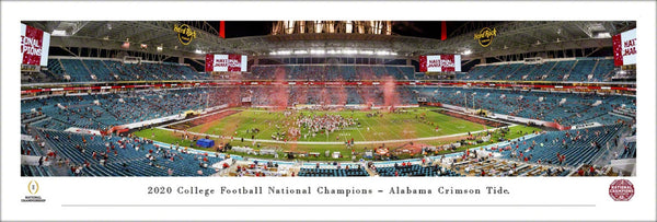 Alabama Crimson Tide 2020 NCAA Football National Champions Panoramic Poster Print - Blakeway Worldwide